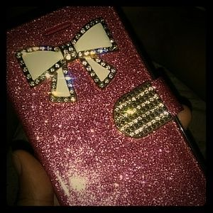 LG 7 phone case with the giant bow and glitter cas